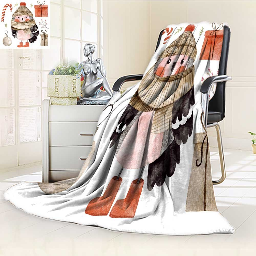 Microfiber Fleece Comfy All Season Super Soft Cozy Blanket little cute bullfinch with winter hat and scarf watercolor hand drawn kids illu for Bed Couch and Gift Blankets(90''x 70'')