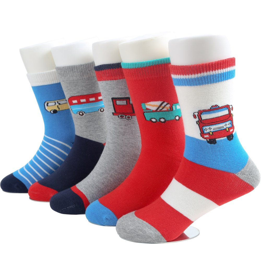 SUNBVE 5 Pack Toddler Little Boys Cars Cute Cotton Ankle Socks Cars  Shoe size 9.5-12.5 Little Kid / 4-6 years