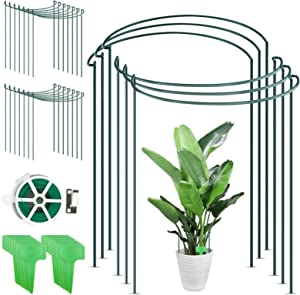 CKE 20 Pack Plant Support Stake, Metal Garden Plant Stake with Planting Label & 164 Feet Garden Twist Tie, Green Half Round Plant Support Ring, Plant Cage, for Tomato, Rose, Vine 10