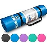 Proworks Große Premium Yogamatte Gepolstert & Rutschfest für Fitness Pilates & Gymnastik mit Tragegurt - Schwarz / Blau / Lila / Grün / Rosa - [Maße 183cm Länge 60cm Breite] - Phtalatfrei