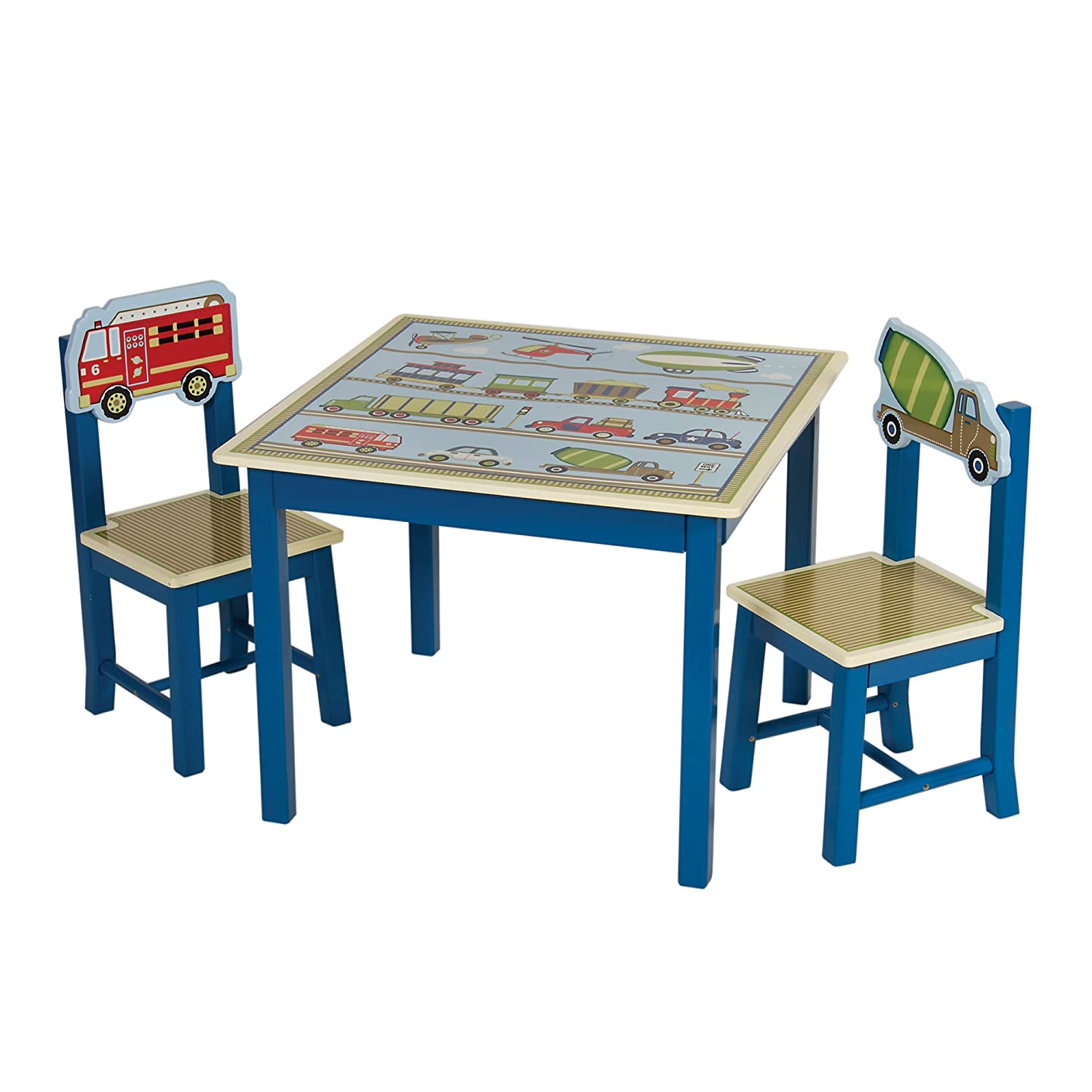 Guidecraft Wood Hand-painted Sailing Table & Chairs Set - Kids Study & Activity Table - Preschool Furniture G88202