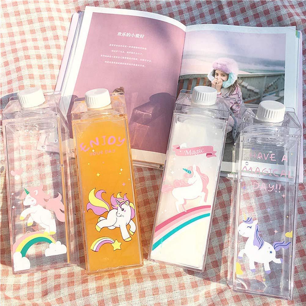 Unicorn Water Bottle - Zero Waste Water Bottle - Milk Box Plastic - Milk Bottles - Juice Bottle - BPA Free Environment Friendly Material 500ml + 2 Cute Unicorn Rings