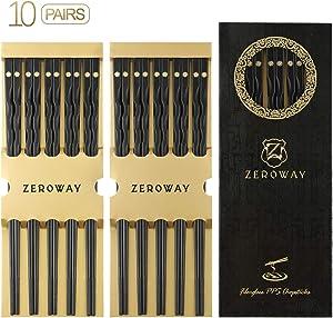 Zeroway 10 Pairs Reusable Fiberglass Chopsticks Dishwasher Safe with Gift Case Chopstick Set for Household Restaurant - Golden flower