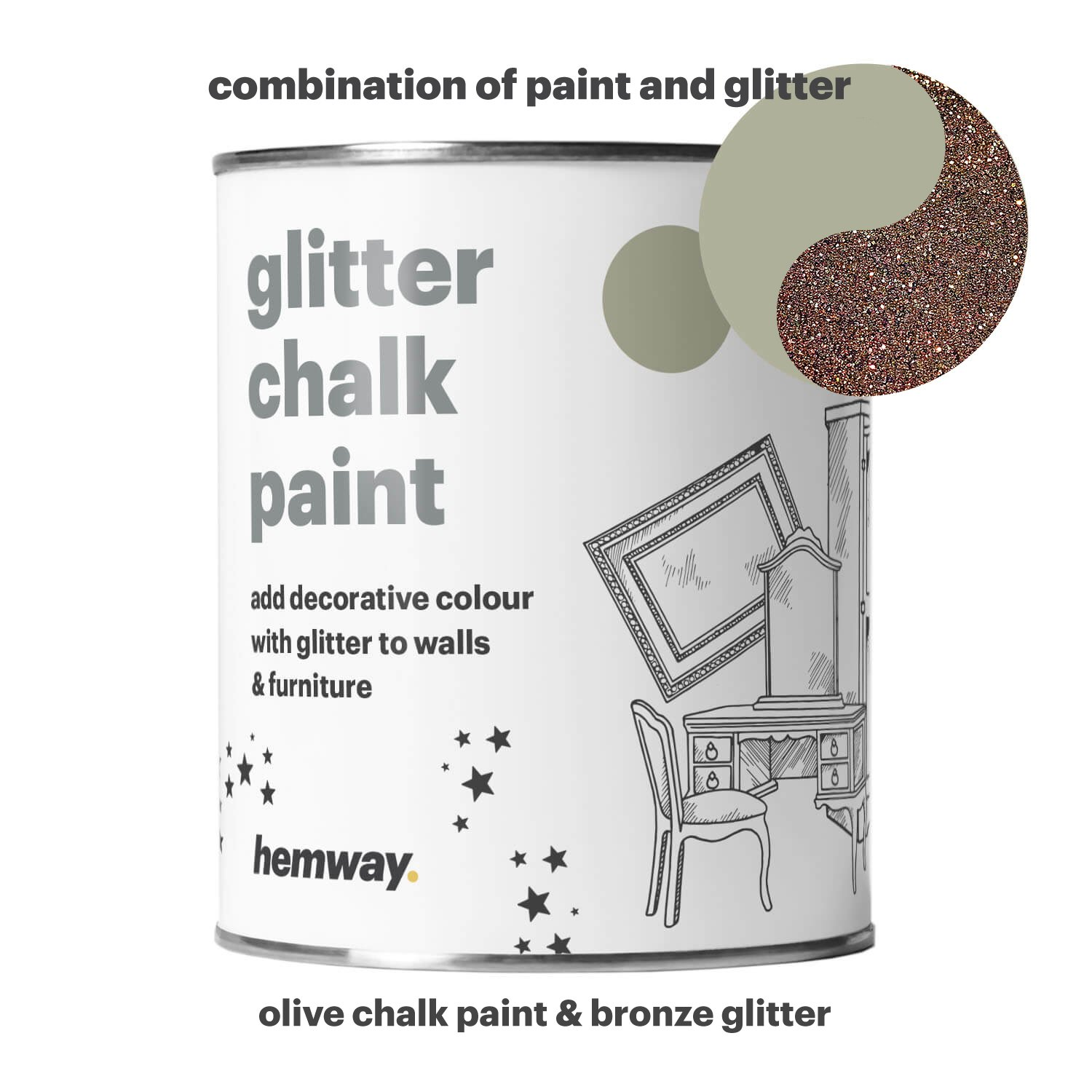 Hemway Olive Chalk Paint (with Bronze Glitter) Sparkle Matt finish Wall and Furniture Paint 1L/35oz Shabby Chic Vintage Chalky Crystal (25 Glittery Colours Available)