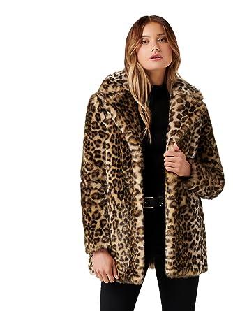 cf199669f Ever New Womens Emerson Leopard Fur Coat, Multi, 2 at Amazon Women's Coats  Shop