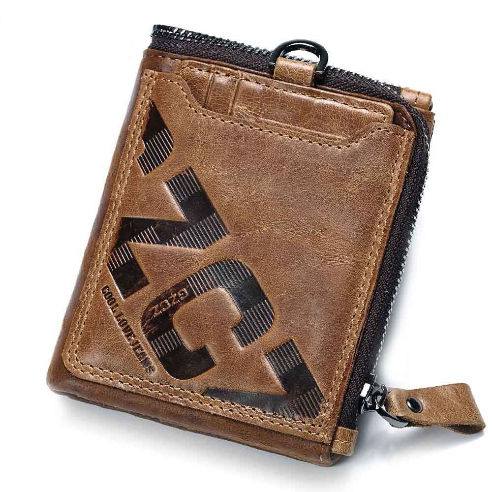 GYFY Mens Leather Retro Wallet Letter Soft face Vertical Square Short Zip Coin Purse Clutch,Brown