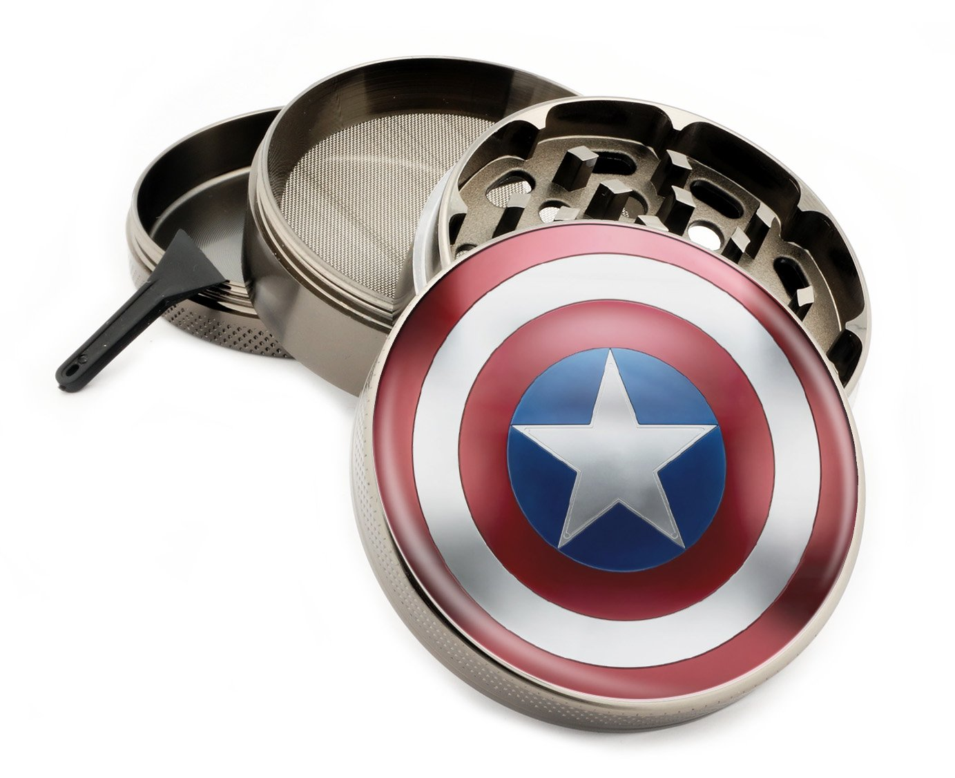 Star Wars & Superhero Themed 4 Layer Herb Grinders with Bonus Scraper (Captain America)