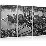 Kreative Arts - 3 Pieces Canvas Wall Art Black and White Brooklyn Bridge and New York City Manhattan Downtown Urban…