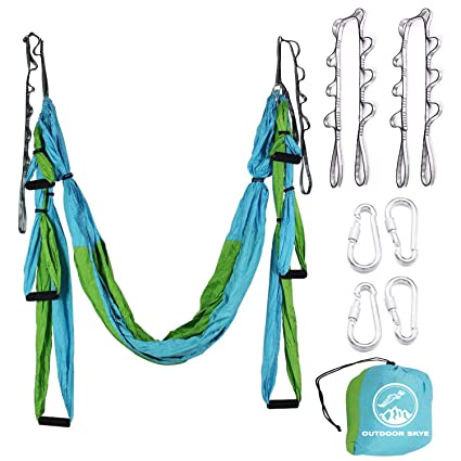 Outdoor Skye Aerial Yoga Swing - Ultra Strong Antigravity Yoga Hammock/Sling/Inversion Tool for Air Yoga Inversion Exercises - 2 Extensions Straps ...