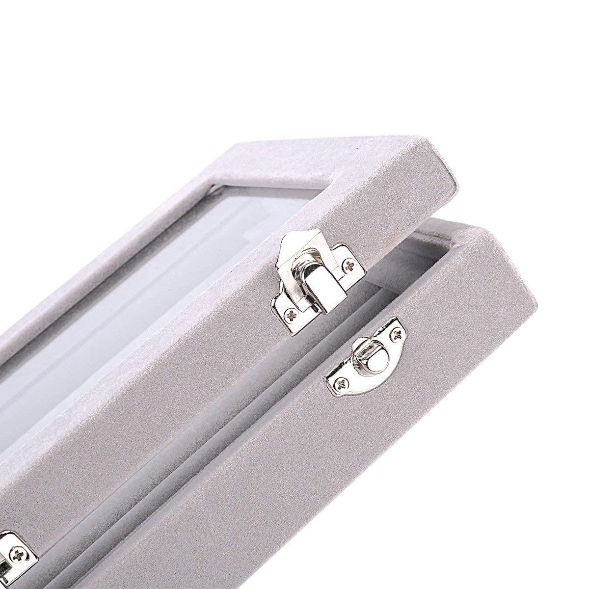 Mayner Ohrringe Box Ohrringe Organizer Aufbewahrungsbox Schmuck Vitrine abschlie/ßbar Samt Glas Schmuckk/ästchen