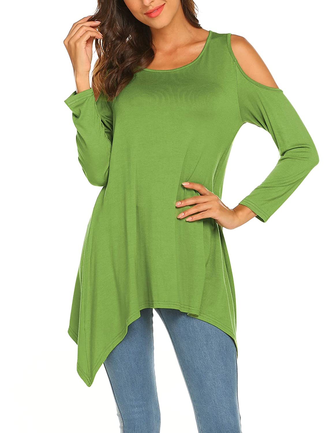 fbda34270be Womens Solid Color Asymmetrical Swing Blouses Long Sleeve Tunic Tops Loose  Casual T Shirt at Amazon Women's Clothing store: