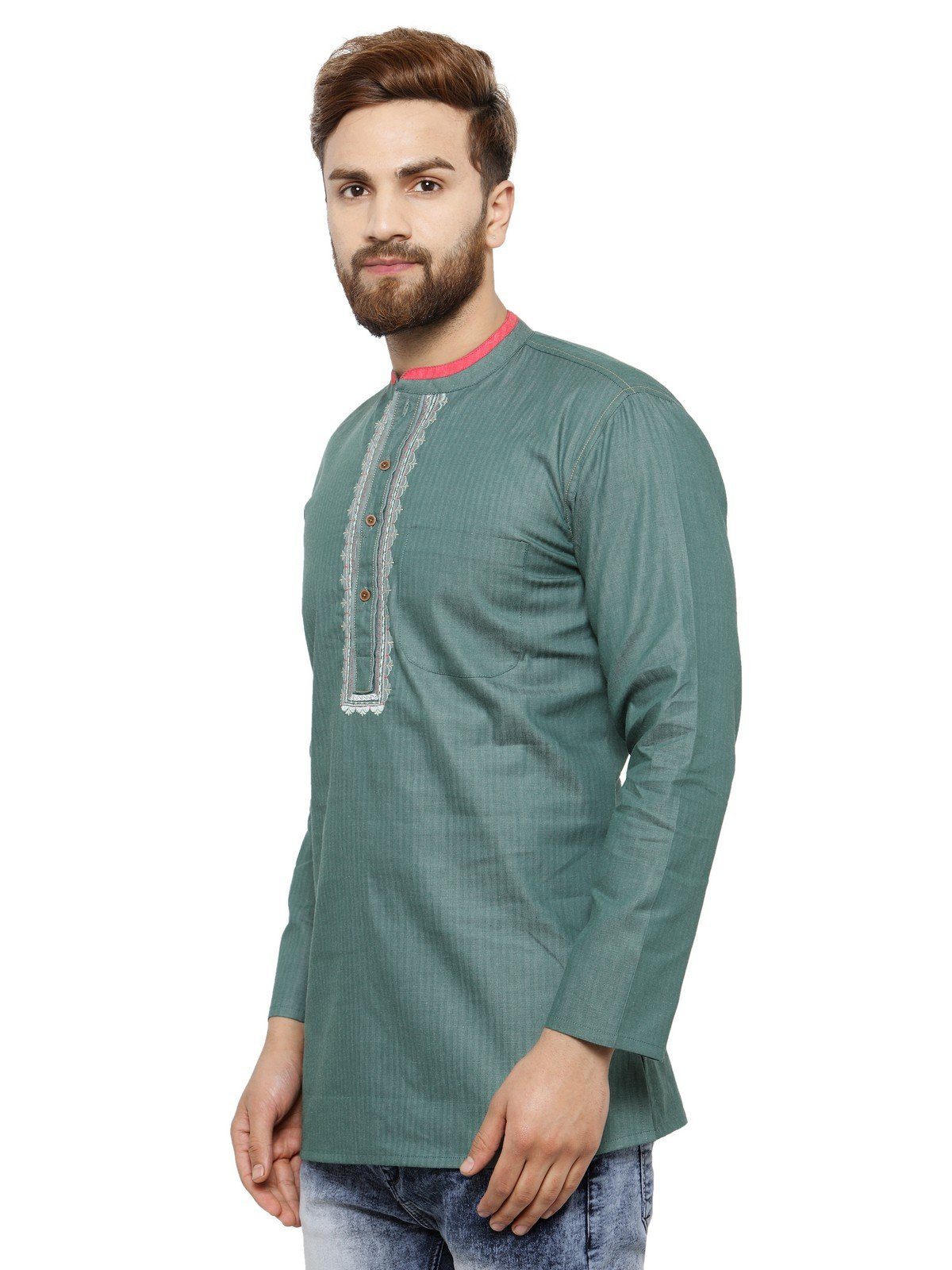 Apparel Men's Cotton Designer Short Kurta 42 Green by ARCH ELEMENTS (Image #2)