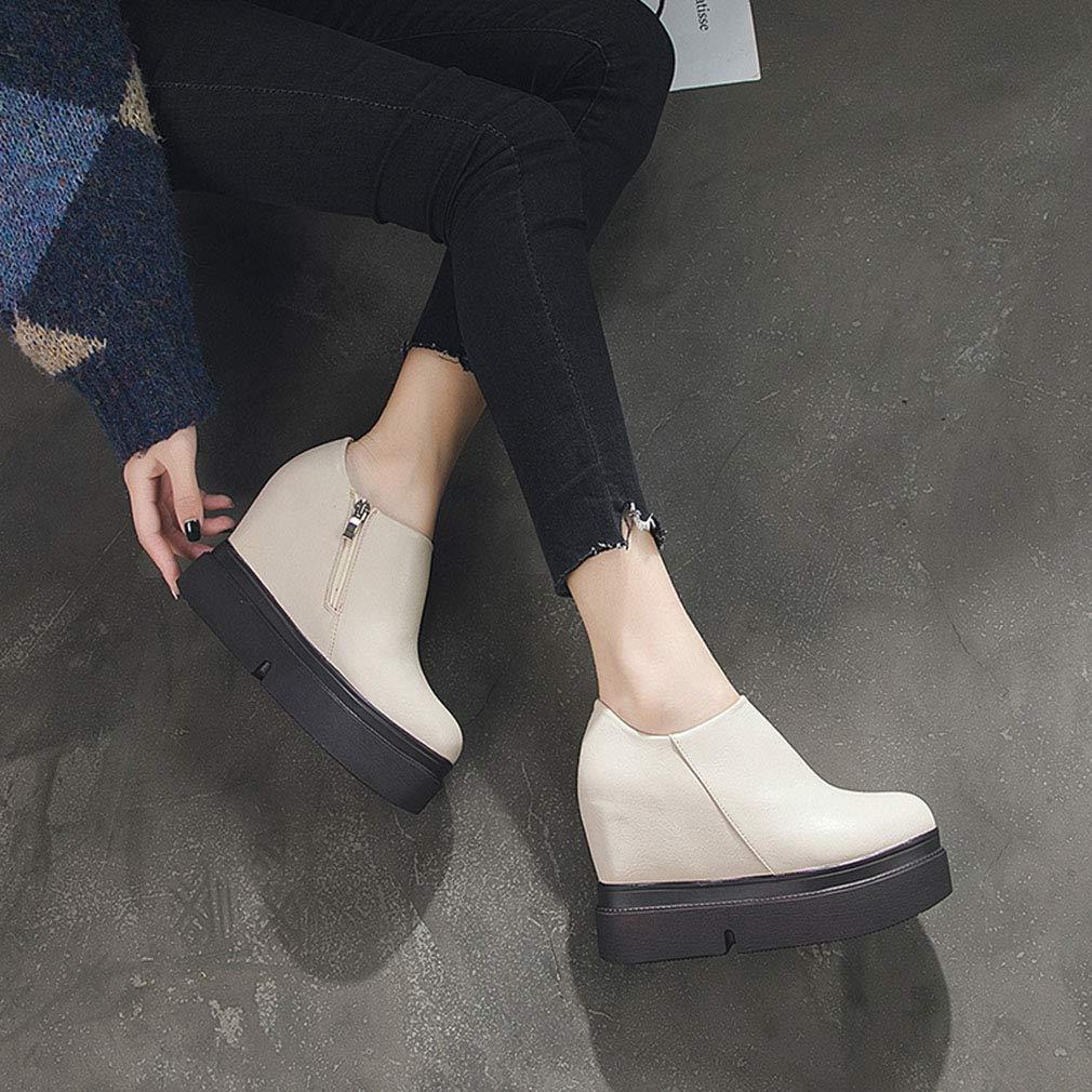 YAN Damenschuhe Mikrofaser Frühjahrspferienplattform Schuhe Invisible Heightening Schuhe Lazy Lazy Lazy Schuhe Outdoor Walk Schuhe Beige schwarz Beige 38 c371c4