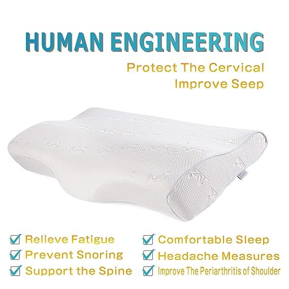 iCoudy - Almohada cervical, viscoelástica con efecto memoria para dolor de cuello, espalda, hombros y para dormir de lado, con funda lavable blanca: ...