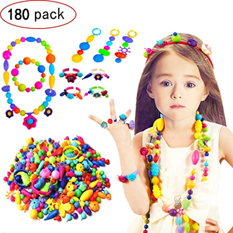 b8a644133bcf GCFIYPP Niños Pop Snap Beads Set 180pcs Joyas de Arte Pop Beads DIY Kit  Pulsera Collar