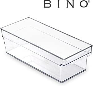 BINO Clear Plastic Storage Bin with Built-In Pull Out Handle - (Standard, Medium) - Storage Bins for Home, Kitchen, and Bath - Refrigerator, Freezer, Cabinet, Closet, Pantry Organization and Storage