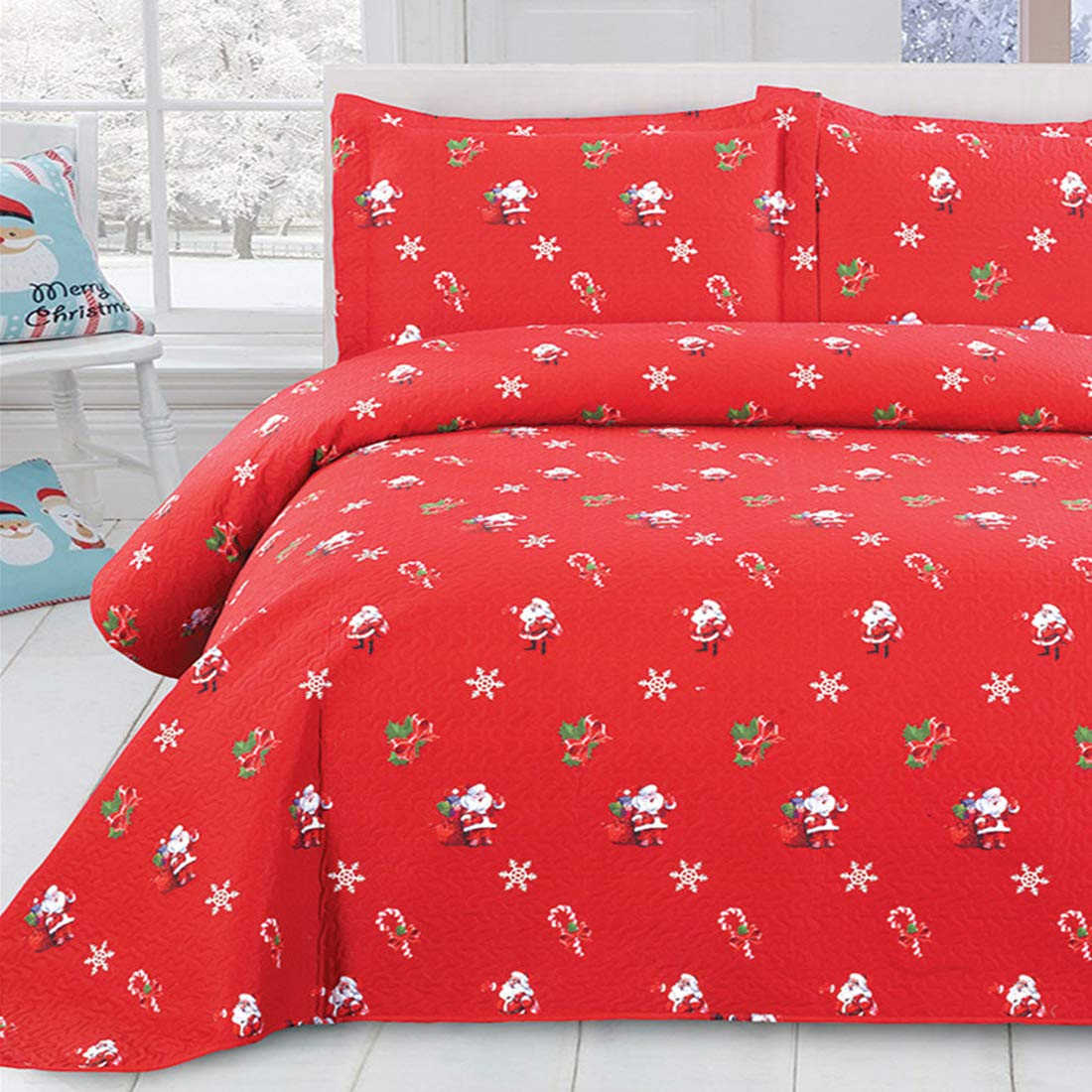 Oliven 3 Pieces Christmas Quilts Full/Queen Size,Lightweight Bedspreads Coverlet Set Full/Queen,Cartoon Christmas Santa Claus Bed Cover Set,Christmas Home Decor Christmas Kids Gifts