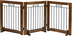 MyGift 3 Panel Dark Brown Rustic Wood & Black Metal Wire Small Indoor Folding Pet Fence Barrier Gate with Dog Bone Decorations