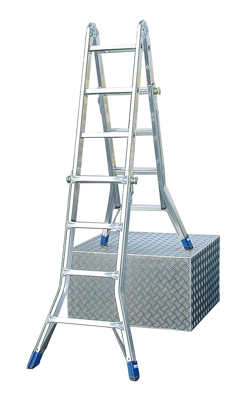 LEI565 Escalera Articulada Telescópica sin Extension de los Pies, 4 X 4 Peldaños, 4.1 m / 2.05m / 1.25 m Altura: Amazon.es: Industria, empresas y ciencia