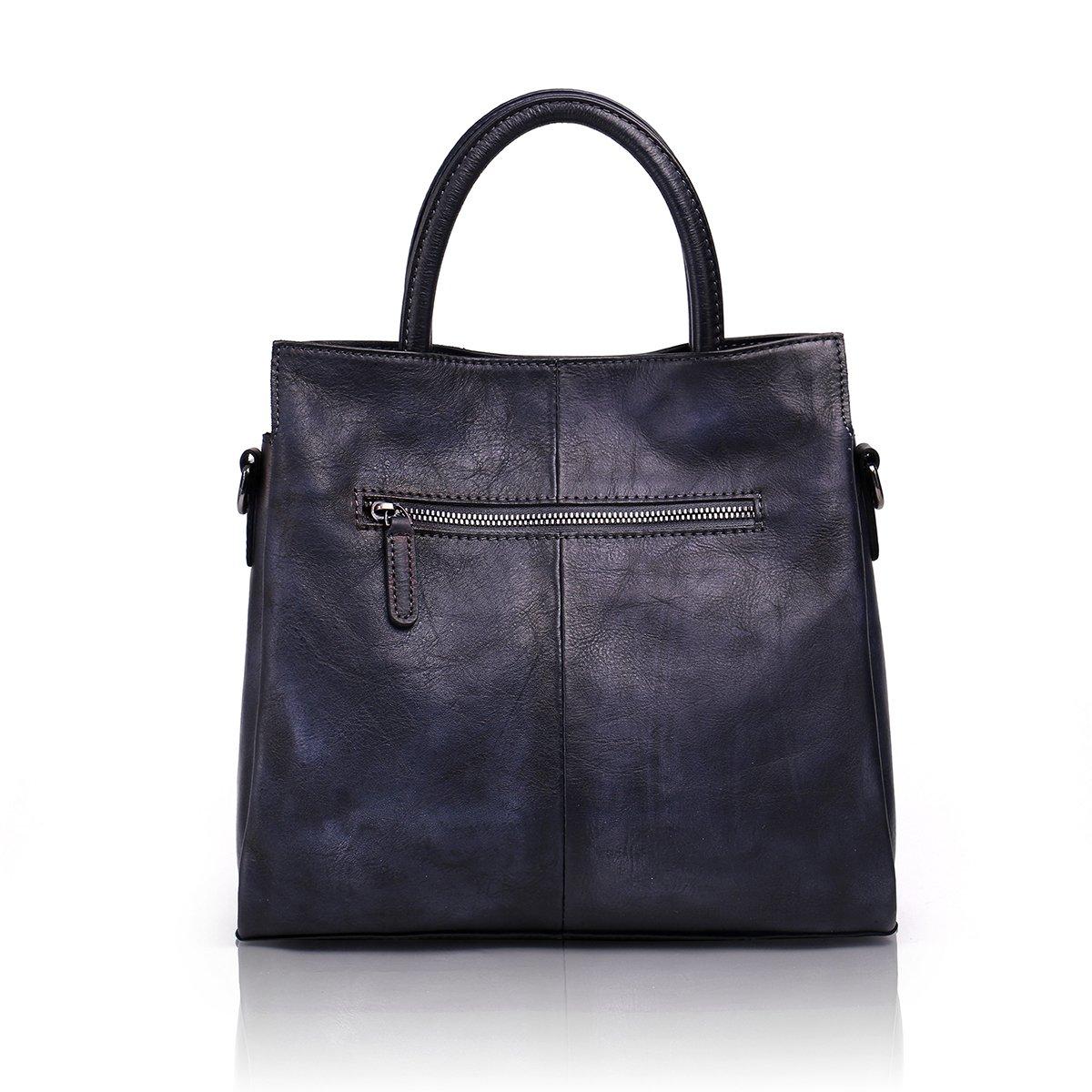 Aphison Designer Soft Leather Totes Handbags for Women, Ladies Satchels Shoulder Bags (BLACK) by APHISON (Image #3)