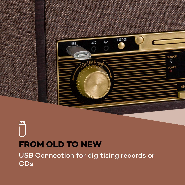 radio DAB+//FM funzione registrazione USB 45 e 78 giri//min Venerabile,Versione 2000 auna Belle Epoque 1912 lettore CD Bluetooth 3 velocit/à: 33 Giradischi retr/ò 2 altoparlanti Marrone Chiaro