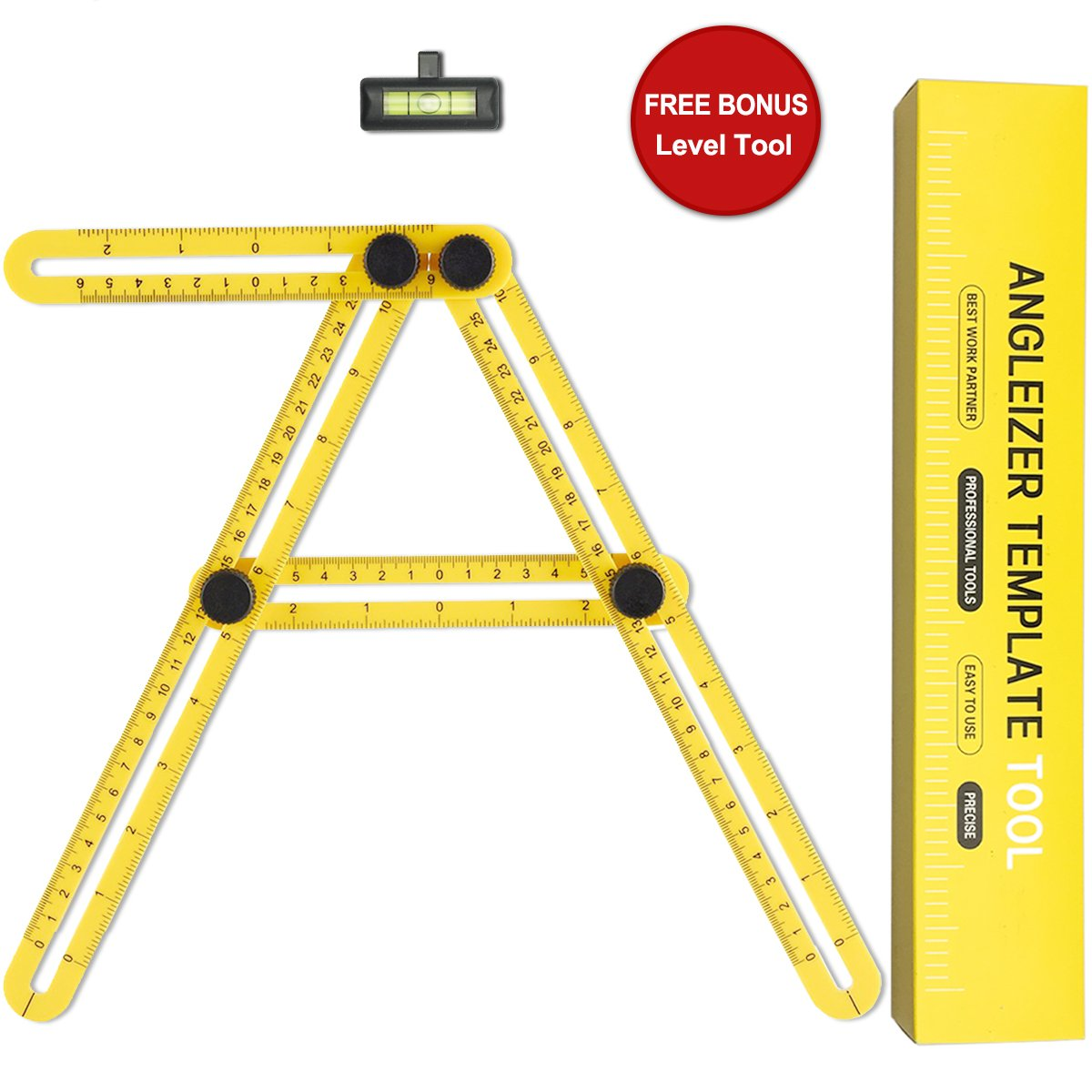 Angle-izer Template Tool, Lookka rè gle de mesure multi-angles instrument de mesure avec rè gle niveau Lookka règle de mesure multi-angles instrument de mesure avec règle niveau