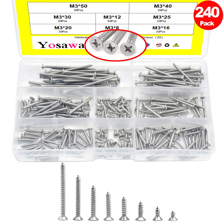 Yosawa M3 240-Pieces Stainless Steel Hex Socket Head Cap Screws Nuts Flat Washers Kit ZM3