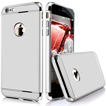 mobbysol  trade; Chrome Edge 3 Piece Hybrid Protective Back Case Cover for Apple iPhone 6/6s   Silver Cases   Covers