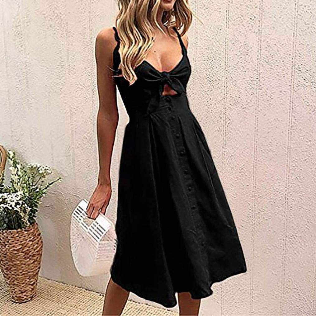 Amazon.com: VESNIBA Womens Holiday Bowknot Lace up Ladies Summer Beach Buttons Party Dress: Clothing