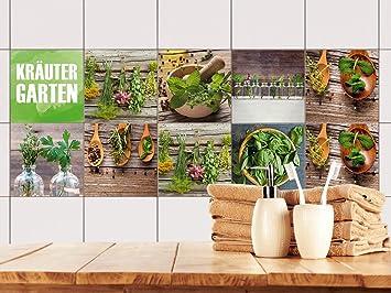 GRAZDesign 770498_10x10_FS10st Fliesenaufkleber Set Kräuter aus dem Garten  für Küche | alte Küchen-Fliesen überkleben | Fliesenbild selbst Gestalten  ...