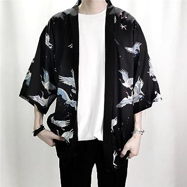 Homme Blousons Impression Mode Hommes Kimono Cardigan Chemise Manteau Mince  Survêtement Occasionnel Lâche Manches Courtes Chemises 3ffb41a7cc3e