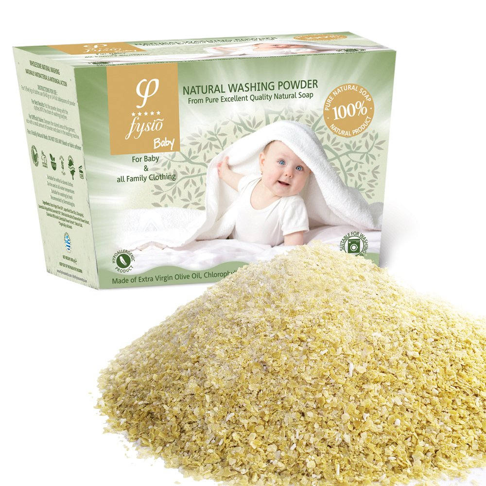 Washing Powder For Newborn/Baby Clothes Produced From 100% Natural Grated Olive Oil Soaps Enriched With Chlorophyll, Chamomile Extract, Lavender & Calendula. For Washing Machines & Washing by Hand