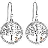"J.Rosée Earrings, 925 Sterling Silver 3A Cubic Zirconia Earrings, Mother's Day Gift, Fine Jewelry for Women ""Tree of Life"""