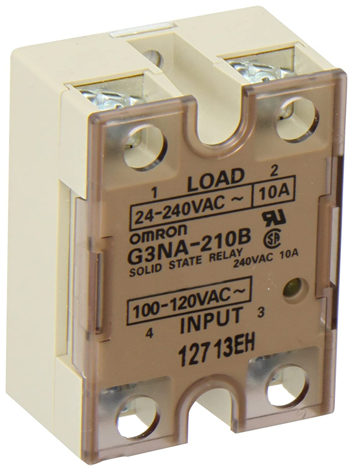Omron G3NA-210B-AC100-120 Solid State Relay, Zero Cross Function, Yellow  Indicator, Photocoupler Isolation, 10 A Rated Load Current, 24 to 240 VAC