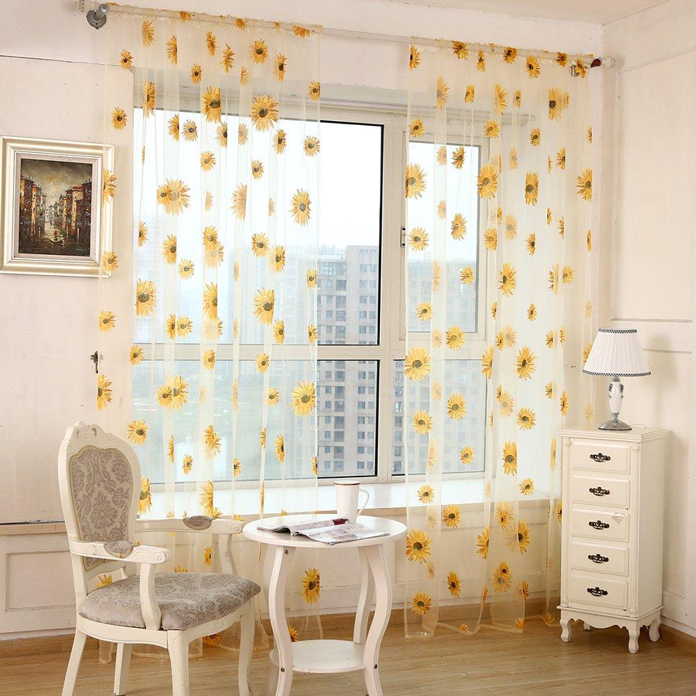 WINOMO Transparent Window Curtains Sunflowers Semi Top Panel for Bedroom Living Room 100 x 270cm Yellow