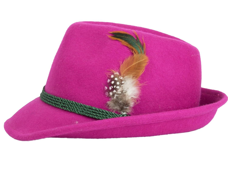 Schuhmacher Damenhut aus Wolle mit Federn vers. Farben