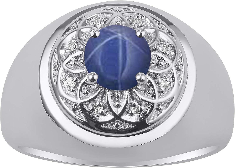 RYLOS - Juego de piedras preciosas de 7 mm y diamantes brillantes auténticos en oro blanco de 14 quilates