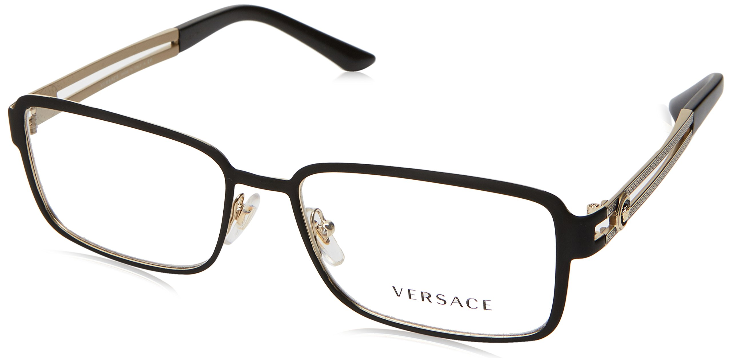 Versace VE1236 Eyeglass Frames 1377-55 - Matte Black/Pale Gold VE1236-1377-55 by Versace