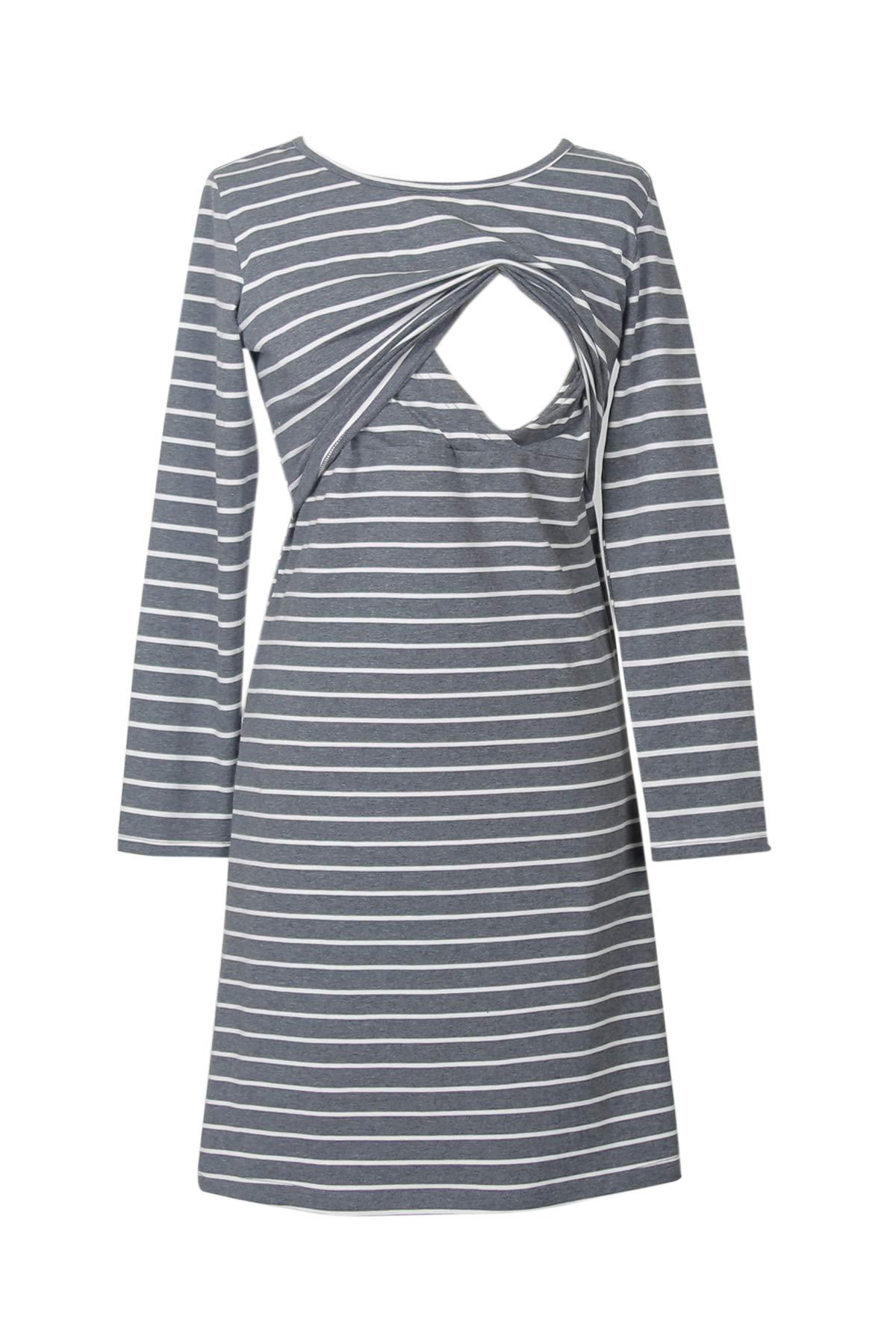 Smallshow Women's Stripes Nursing Dress Medium Dim Grey