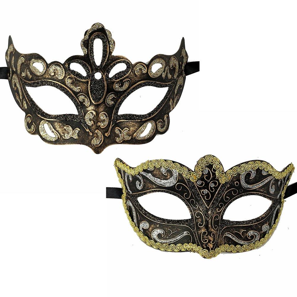 Xvevina Pair Women Men Masquerade Face Mask for Ball Party/Halloween Silver Black Gold