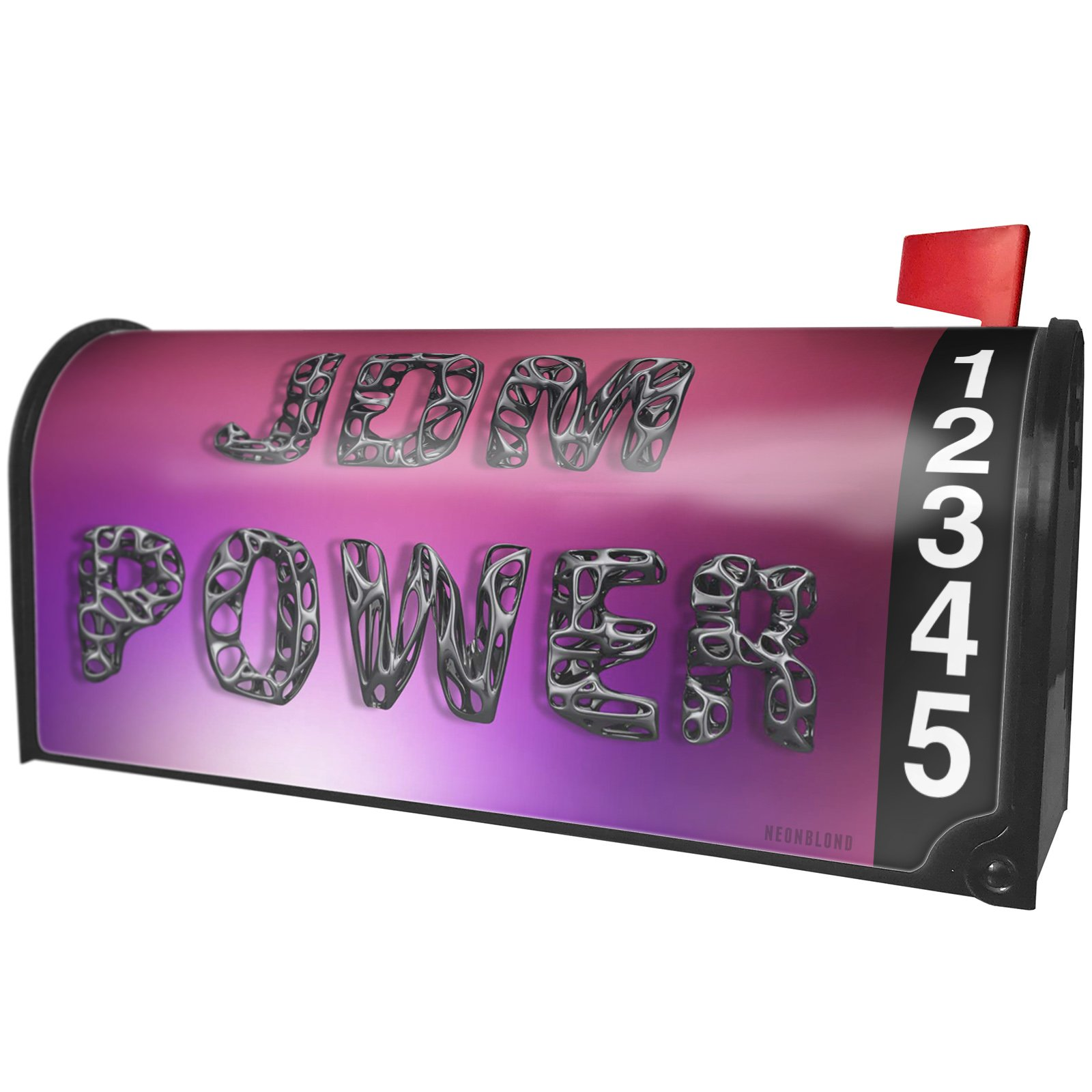 NEONBLOND JDM Power Geometric Shapes Magnetic Mailbox Cover Custom Numbers