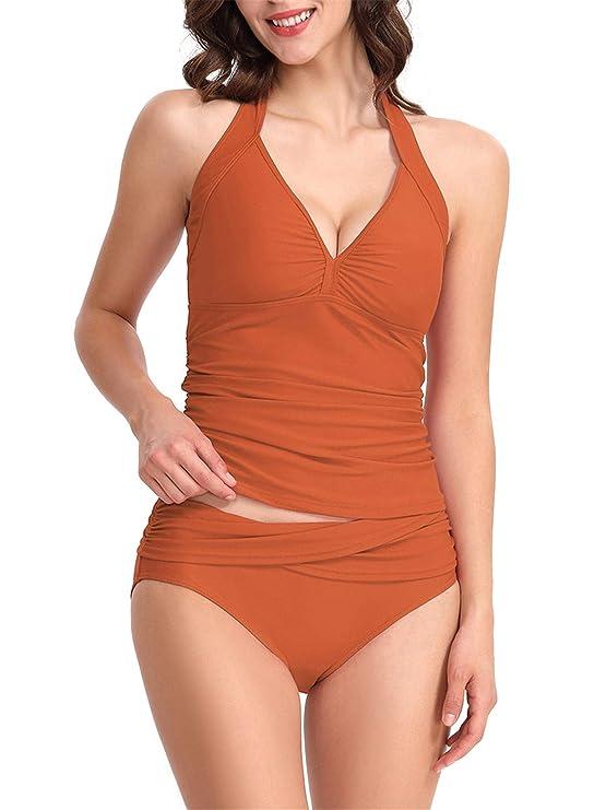 PANAX Bügelloser Damen Neckholder Tankini in Unifarben - Rückenfreier Badeanzug mit vorgeformten Softcups