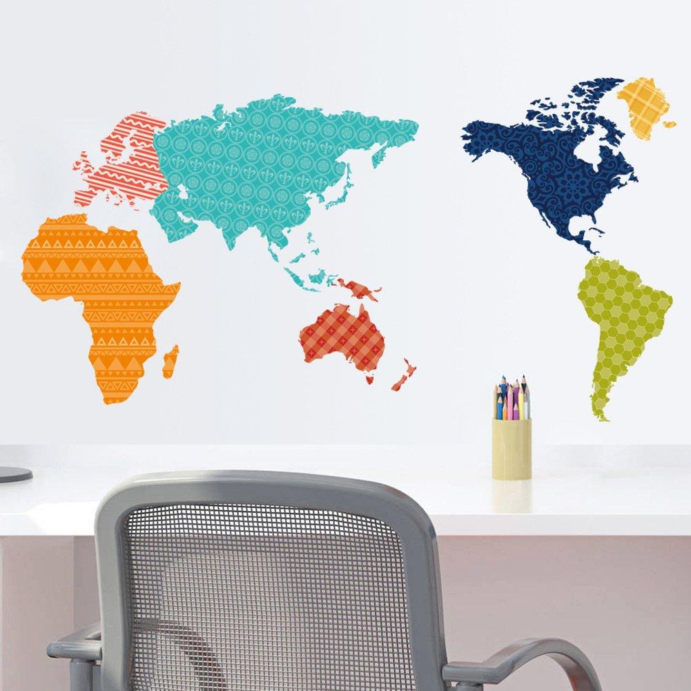 Venkaite DIY Wall Stickers English Alphabet World Map Vinyl Decals Removable Room Art Mural Decal 74x122 cm