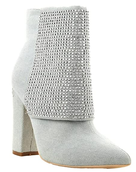 d006a69941eaf Amazon.com | CAPE ROBBIN Beautiful-35 Denim Ankle High Block Heel Pointed  Toe Rhinestone Embellished Boots Lite Blue 6.5 | Ankle & Bootie