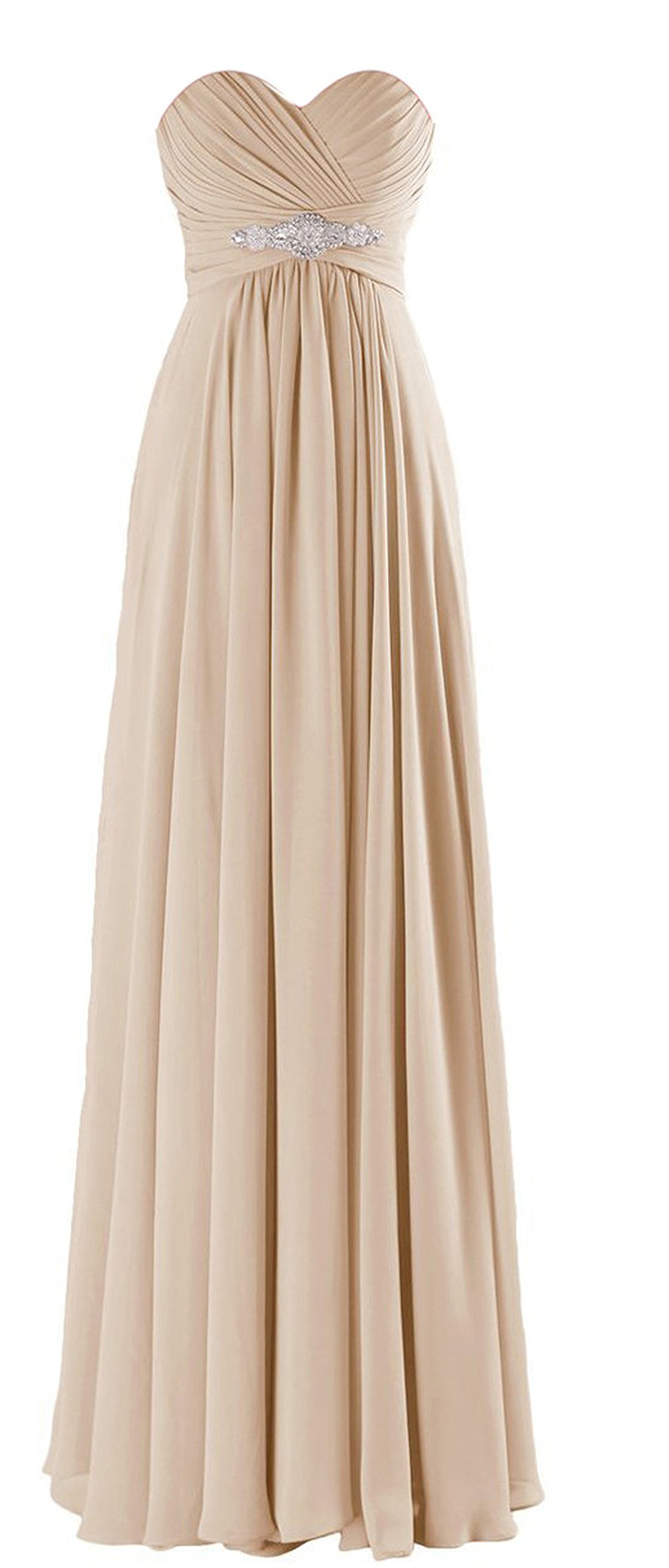 ThaliaDress Long Chiffon Sweetheart Evening Bridesmaid Dresses Prom Gowns T002LF Champagne US24W