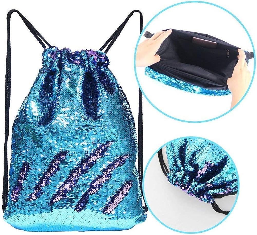 Sequin Gym Dance Backpacks Mermaid Sequin Drawstring Bags