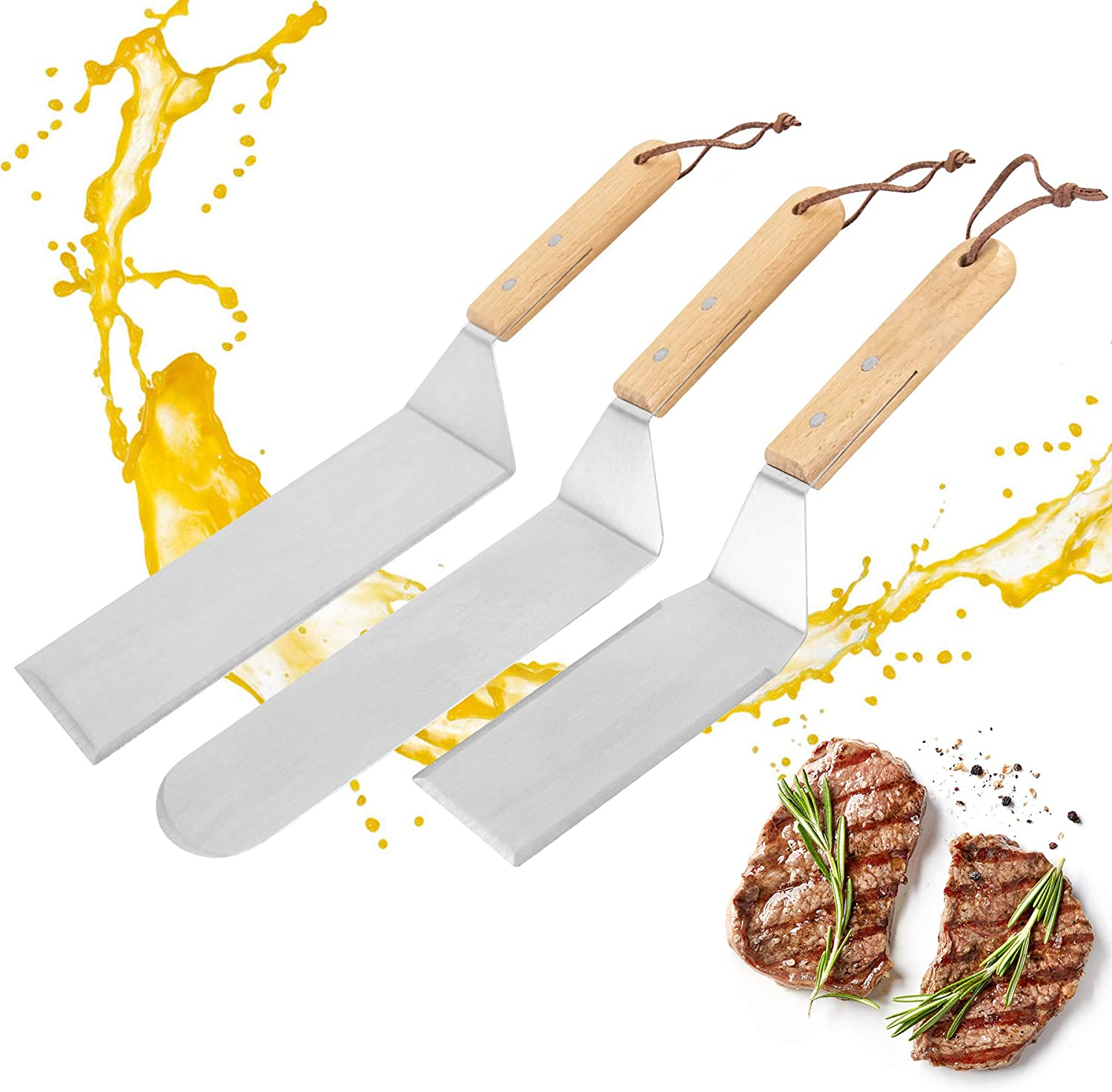 UUSHER Griddle Accessories Kit,3 PCS Food Grade Stainless Steel Griddle Spatula Set with Beech Handle for Outdoor BBQ, Teppanyaki,Steak and Camping