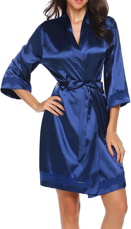UNibelle Donna Vestaglia e Kimono Raso Scollo a V Manica a 3//4 Camicia da Notte Corto Pigiama da Notte Nightdress in Pizzo S-XXL