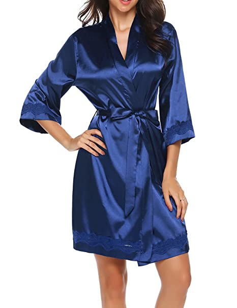 885d79fa8f Image Unavailable. Image not available for. Color  GBoon Women Kimono Robes  Silk Nightwear Short Style Navy Blue
