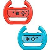 MoKo Steering Wheel for Nintendo Switch, [2 Pack] Switch Steering Wheel Controller Handle for Switch Joy-con Mario Kart 8 Deluxe (Blue & Red)